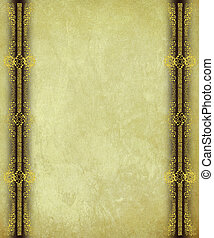 Antique Paper with Gold Scroll work Borders Background