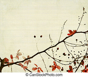 Red Flower And Foliage on Bamboo Background