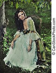 jovem, senhora, misteriosa, floresta