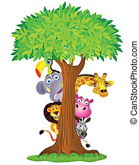 Funny animal cartoon hiding behind tree