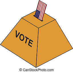 Ballot urn - A vote depicted as the USA flag is inserted in...