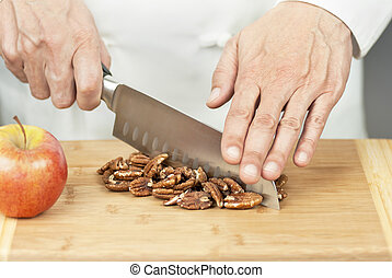 Chef Chopping Pecans