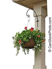 Hanging flower basket - Flower basket on a post