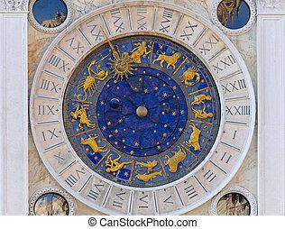 astrologia, relógio, San, Marco