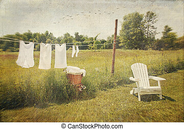White cotton clothes drying on a wash line