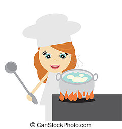 girl cook with potato on white vector illustration