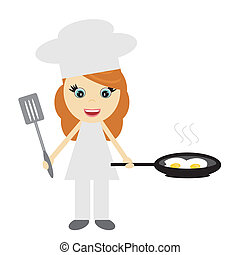 girl cook with pan with fried eggs on white background...