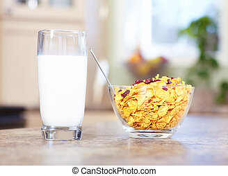 Milk and cereals - Milk and cereals on the table Healty diet...