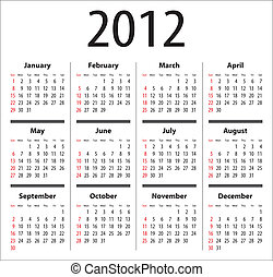 Calendar for 2012. Sundays first