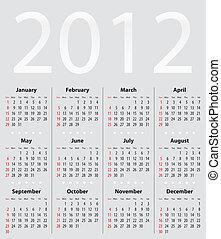 Light gray calendar for 2012