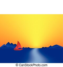 Mountain Bay Sunset. Abstract illustration.
