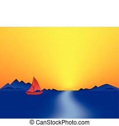 Mountain Bay Sunset. Abstract illustration.