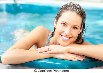 Couple - Young woman relaxing in the water Summer