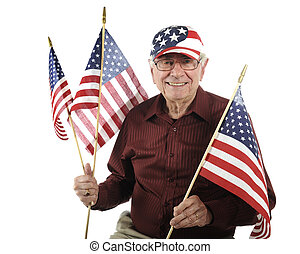 Tea Party Patriot - A happy senior man wearing a...