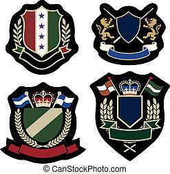 clássicas, grinalda, emblema, emblema