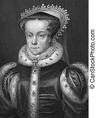 Mary I of England (1516-1558) on engraving from 1800s. Queen...