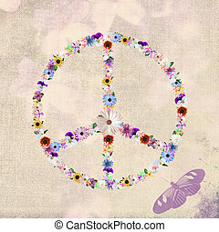 Floral Peace Sign - Variety of summer flowers in a peace...