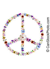 Floral Peace Sign - Summer flower peace sign design on...