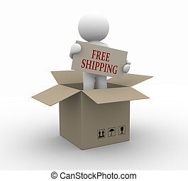 Free shipping - 3d people icon free shipping in the package...