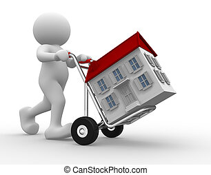 Hand truck - 3d people icon with house on hand truck -This...