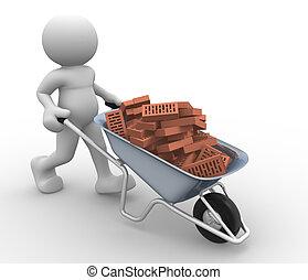 Wheelbarrow - 3d people icon with bricks in wheelbarrow-...