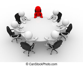 Leadership and team at conference table - This is a 3d...