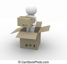 Package - 3d people character carrying a package - This is a...