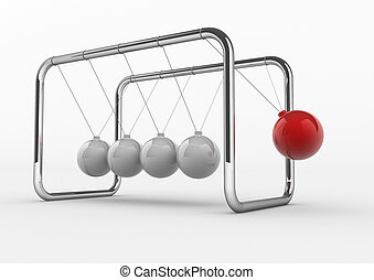 Newton's - Close up of Newton's cradle - 3d render...