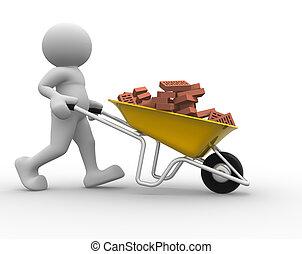 Wheelbarrow - 3d people icon with bricks in wheelbarrow -...