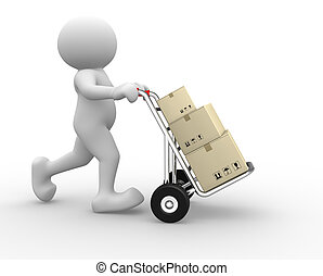 Hand truck - 3d people icon with hand trucks and cargo...