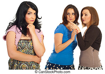 Women gossip - Two women tells secrets and gossip about...