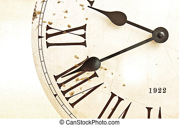 Face of the old clock - Large white dial of an old clock...