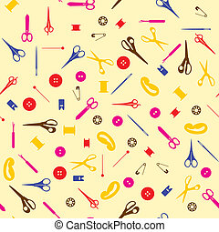 Seamless sewing items background.  Vector illustration.
