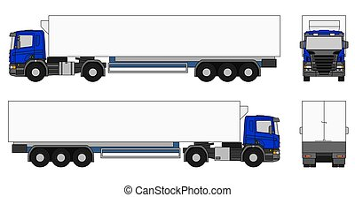 Semi-trailer truck - Illustration of a blue semi-trailer...