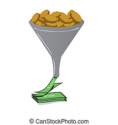 Sales funnel with coins filling funnel and cash pouring out