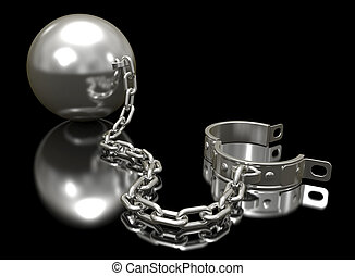 Steel ball on a chain and shackle.
