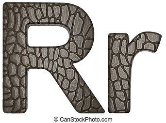 Alligator skin font R lowercase and capital letters isolated...