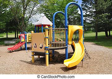Children Park Playground Equipment - Empty Children Park...
