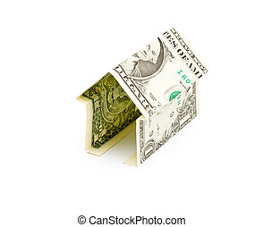 simple house from one dollar bank note isolated
