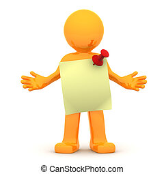 3d person with sticky note. Isolated on white background