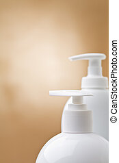 copyspace view on tops of cosmetical sprays