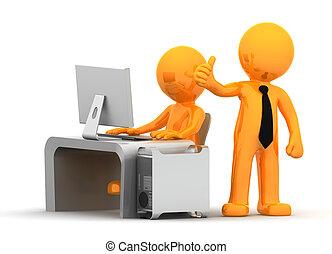 negócio, pessoas, trabalhando, computador