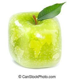 Green apple and map