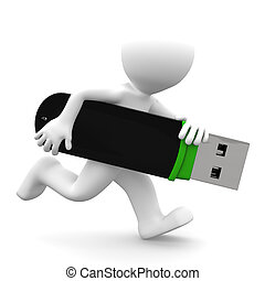 3d person running with USB flash drive. Isolated on white...