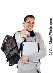 Dark-skinned student with laptop and backbag holds thumb up