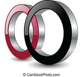 Logo design, two circles red and black. vector.