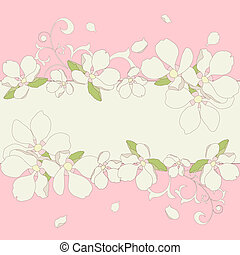 Apple blossom frame background. Vector illustration.