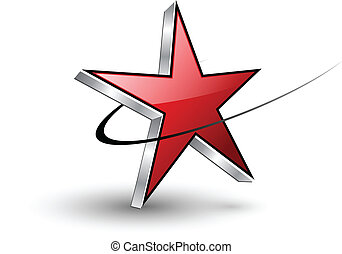 Logo red dynamic star, vector
