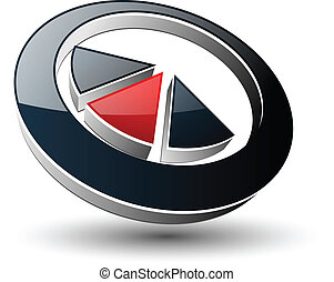 Logo abstract symbol black and red,vector.