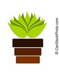 Pot with plant - Green plant in pot. Vector illustration